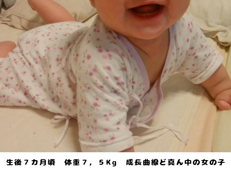 ミキハウス天使のはぐコンビ肌着を着た女の赤ちゃん