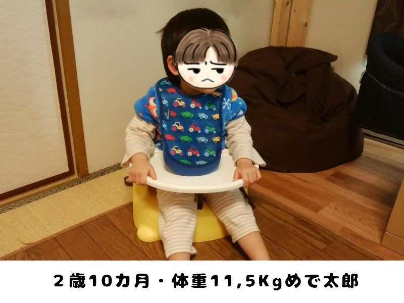 リッチェルごきげんチェアに座る2歳の男の子
