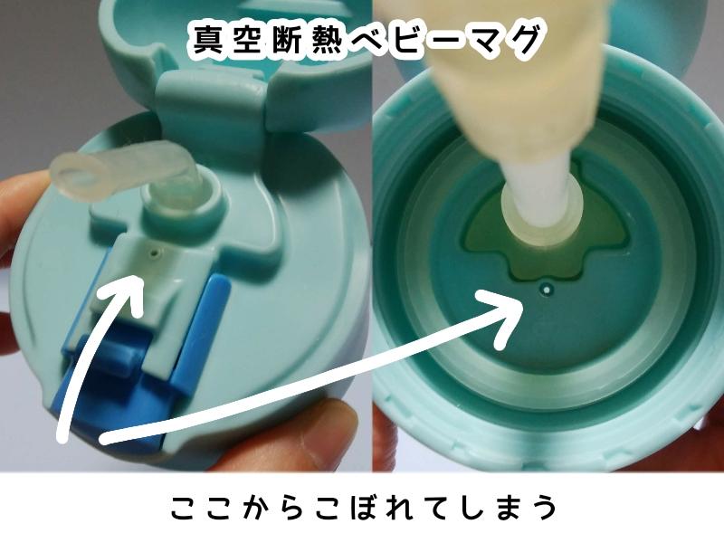 サーモス 真空断熱ベビーマグは、空気穴から多少こぼれるが、ストローからはこぼれにくい